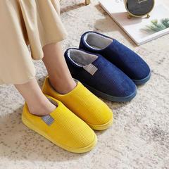 新品推荐!棉拖鞋-竖条纹灯芯绒侧标全包跟棉拖P577