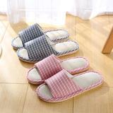 亚麻拖鞋-小格子棉麻(WK-028/N372)