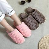 新品推荐!棉拖鞋-珊瑚绒菱形格子平底棉拖(WK-180/P278)