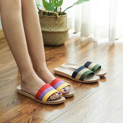 实!亚麻拖鞋-亚麻三色带拖鞋P321