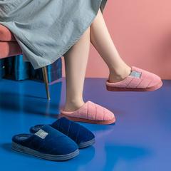 团购推荐!棉拖鞋(约32万)-P223螺纹玉兔绒低跟5斜条棉拖P223