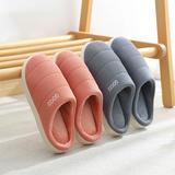 新品推荐!棉拖鞋-针织小米粒英文GOOD低跟棉拖P338