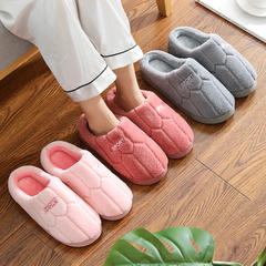 团购推荐!棉拖鞋-蜂巢字母款低跟棉拖P410