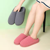新品推荐!棉拖鞋-纯色小方块竖条低跟棉拖P313