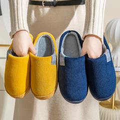 团购推荐!棉拖鞋(约15万)-竖条纹灯芯绒侧标包跟拖鞋P439