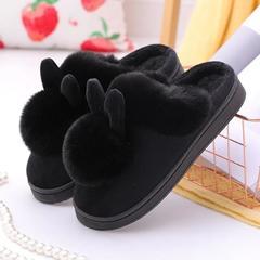 新品推荐!棉拖鞋-球球耳朵兔半包跟棉拖鞋(网络图慎用)P808