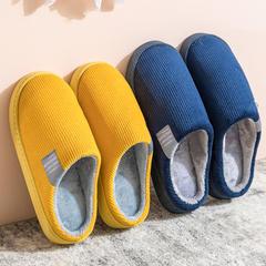 团购推荐!棉拖鞋竖条纹灯芯绒侧标包跟拖鞋P439