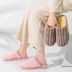 团购推荐!棉拖鞋(约10万)-粗款竖条平底棉拖P318